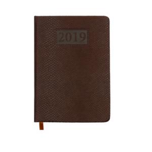 Ежедневник А6 карманный датированный 2019 AMAZONIA коричневый, золотой срез