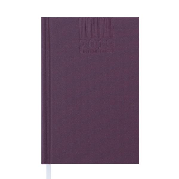 Ежедневник А6 карманный датированный 2019 BRILLIANT бордовый, твердая обложка