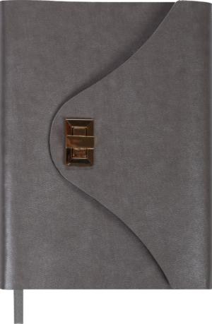 Ежедневник А5 недатированный FOREVER серебряный, кремовый блок, на застежке