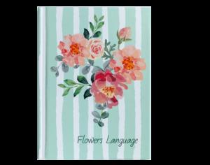 Блокнот FLOWERS LANGUAGE, А6, 64л., твердая обложка, кремовый блок в клетку, зеленый