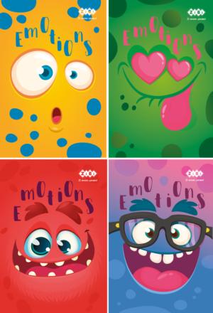 Блокнот, детский EMOTIONS, формат А7, 40л, на пружине, картонная обложка, в клетку