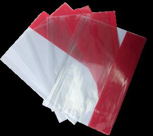 Обложки для тетрадей и учебников прозрачные с цветными полями А4, 5 штук, 90мкм