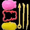 Легкий пластилин 10шт, 10 цветов + 3 формочки, 3 стека, в прозрачном ведерке 28674