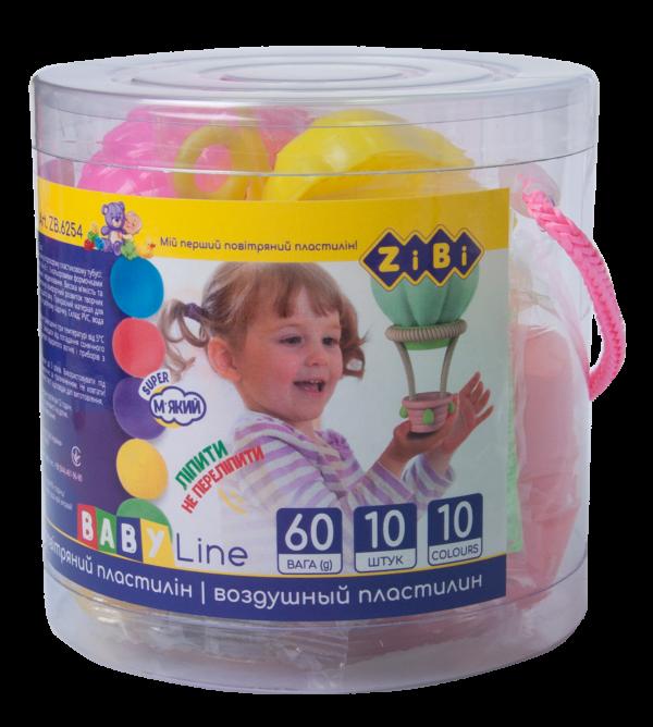Легкий пластилин 10шт, 10 цветов + 3 формочки, 3 стека, в прозрачном ведерке