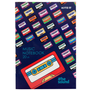 Тетрадь для нот А4, 20 листов, на скобе Kite BeSound K19-404-1
