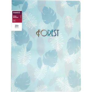 Папка пластиковая А4, Forest на 2 кольца, бирюзовая