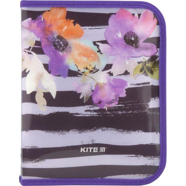 Папка для тетрадей пластиковая Flowers В5, на молнии, K18-203-2
