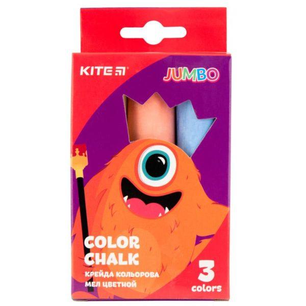 Мел цветной цилиндрический JUMBO 3 цвета, 3шт. Jollier K19-077