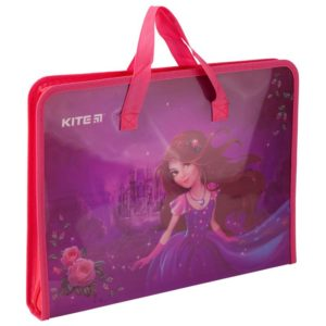 Папка-портфель пластиковая на молнии 1 отд, А4, Princess K19-202-01