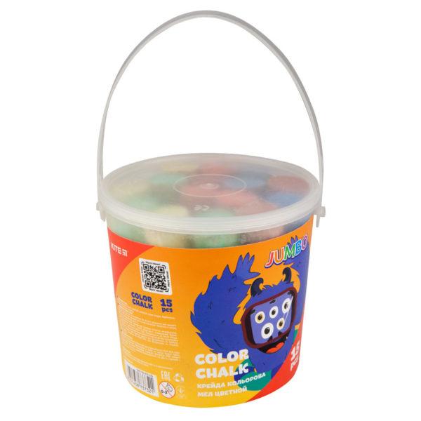 Мел цветной JUMBO, 15 шт. 5 цветов, в пластиковом ведре Jolliers K19-074