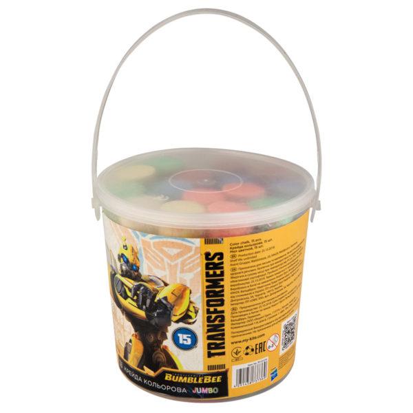 Мел цветной JUMBO, 15 шт. 5 цветов, в пластиковом ведре Transformers TF19-074