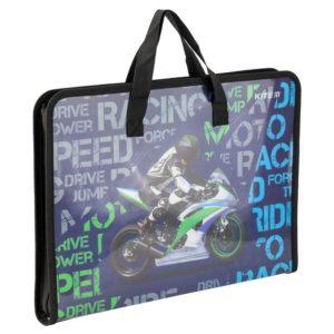 Папка-портфель пластиковая на молнии 1 отд, А4, Racing K19-202-02