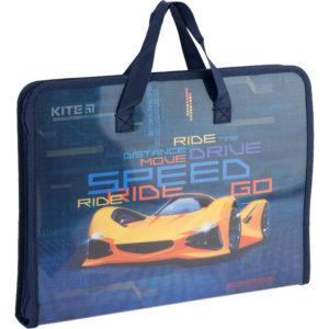 Папка-портфель пластиковая на молнии 1 отд, А4, Fast Cars K20-202