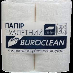 Туалетная бумага целлюлозная Buroclean, 2-х слойная, 4шт/уп, белая