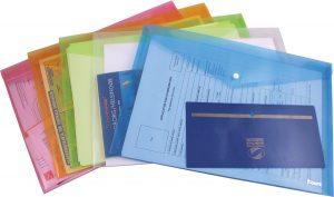 Папка-конверт на кнопке А4, прозрачная глянцевая