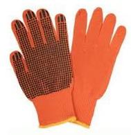 Перчатки вязаные 526, оранжевые, 3 нитки, точка ПВХ, пара