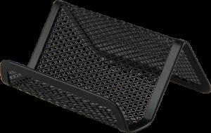 Подставка для визиток, 95х80х45мм, металлическая, черная и серебряная