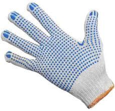 Перчатки вязаные 547, белые, 2 нитки, точка ПВХ, пара