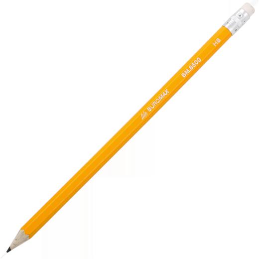 Карандаш НВ шестигранный с ластиком, желтый