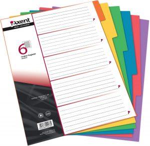 Разделители картонные 1-6, формат А4, цветные