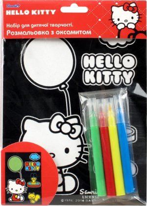 Раскраска с бархатом В6 + 4 фломастера Hello Kitty HK14-157K