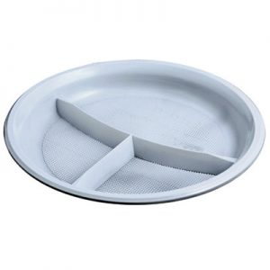 Тарелка пластиковая на 3 отделения, d-20,5см, 100шт, белая