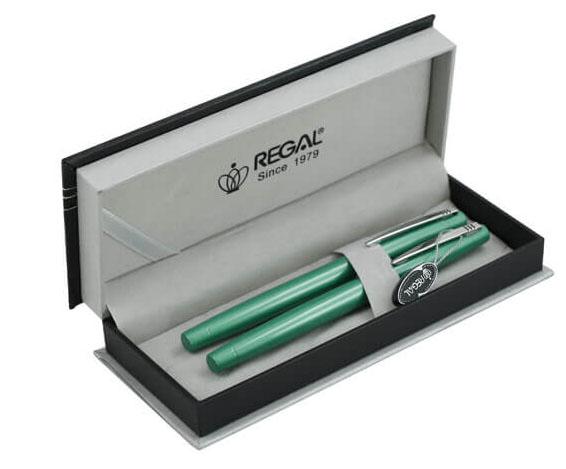 Набор ручек перо+роллер R285422.P.RF в подарочном футляре, зеленый