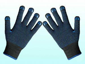 Перчатки вязаные 646, синие, 2 нитки, точка ПВХ, пара